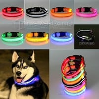 8 Color S M L Size Glow LED Dog Pet Cat Flashing Light Up Nylon Collar Night Safety Collars S