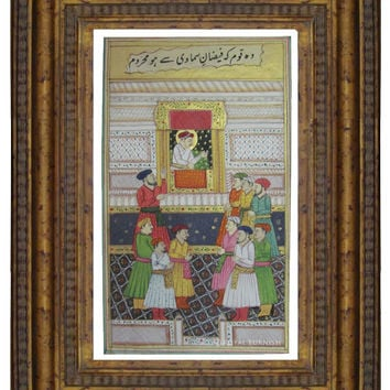 Mughal Empire Court Room Scene India Miniature Paper Painting