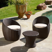 Patio Chair Set Christopher Knight Wicker Brown