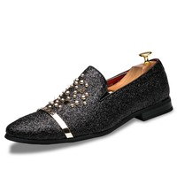 Luxury Brand Men loafers Silver Black Diamond Rhinestones Spiked Loafers Rivets shoes Male Designer
