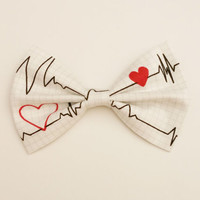 Heart Monitor Bow • Heart Hair Clip • Nurse Hair Bow • Doctor's Bow • Heartbeat Bow • Gifts For Med Students • Novelty Bow • Back to School