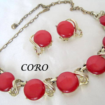 Coro Red Necklace Earrings Moonglow Thermoset Lucite