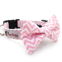 Pink and White Chevron Dog Collar ( Dog Collar Only - Matching Bow Tie Available Separately)