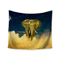 "Nick Atkinson ""Celestial Elephant"" Black Blue Wall Tapestry"