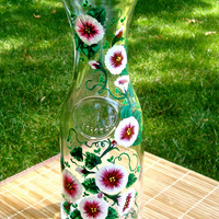 Hand Painted Glass Carafe With Red and White Flowers