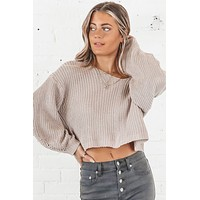 Wait A Minute Mauve Knit Sweater
