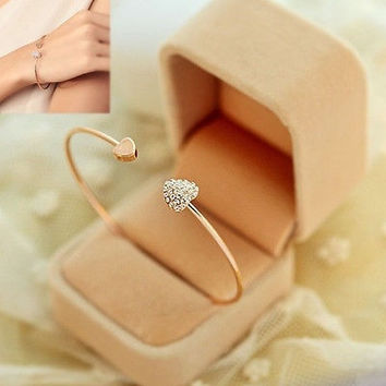 Women Girl Simple Style Gold Tone Rhinestone Love Heart Bangle Cuff Bracelet (Color: Gold) = 1946455492