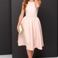 Pink Backless Strapless Simeple Homecoming Dress