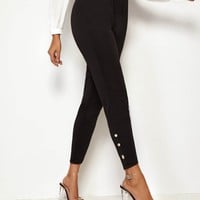Button Detail Skinny Ankle Pants