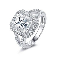 Empress 3CT Emerald Cut Halo Split Shank IOBI Simulated Diamond Sterling Silver Platinum Plated Ring For Woman