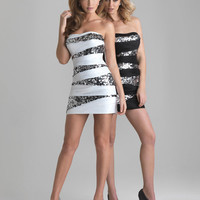 White & Silver Ruched Taffeta & Sequin Strapless Fitted Homecoming Dress - Unique Vintage - Cocktail, Pinup, Holiday & Prom Dresses.