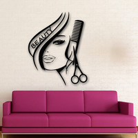 Newly arrived Removable Wall Stickers Vinyl Decor Hair Beauty Salon Barbershop Sexy Girl Wall Stickers Home Decoration D54