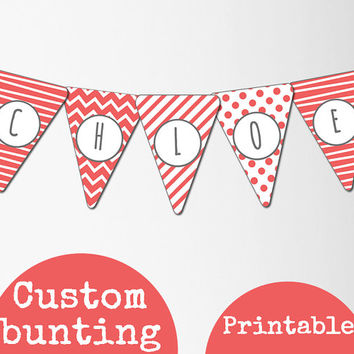 Custom name bunting banner,chevron,stripe and polka dots in salmon pink downloadable monogram fonts.Personalised bunting,girls bedroom decor