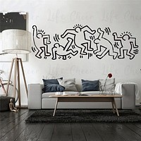 Graffiti Style Vinyl Wall Sticker Keith Haring Style Wall Murals Artist Design Wall Art Decal Home Living Room Decor AC326|Wall Stickers