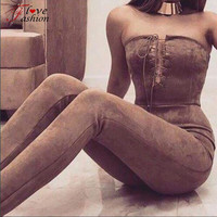 New Arrival Jumpsuits Suede off shoulder lace up jumpsuit romper Autumn winter sexy party jumpsuit women Bodycon club outfits
