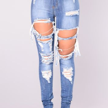 Alter Ego High Waisted Distressed Jeans - Light Blue