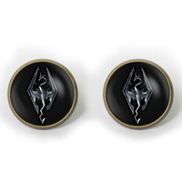 Handmade Skyrim emblem earrings Skyrim emblem cabochon dome post earring Skyrim arrings Jewelry, Gift