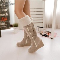 Mhysa 2018 Winter Women New Fashion Wedges Mid-Calf Boots Casual Shoes Sweet Casual Lace-up Snow Boots Plus Size 34-43 S811