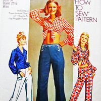 1970s Crop Top and Hip Hugger Bell Bottom Pants Pattern Misses size 12 UNCUT Bare Midriff Top and Bellbottom Pants