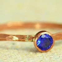 Dainty Copper Sapphire Ring