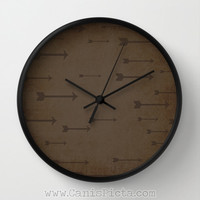 Modern Arrow Wall Clock in Natural Wood, Black, or White Frames Brown Chocolate Man Cave Gift for Him Distressed Unique Dark Bow Archery Fun