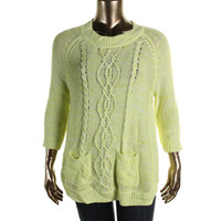 John Paul Richard Womens Cable Knit 3/4 Sleeves Pullover Sweater