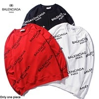 Balenciaga hot seller of stylish couples' printed hoodies with rounded necks and long sleeves