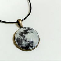 On sales! Unisex, Moon planet solar system glass brass keychain or necklace