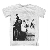 Star Wars Selfie Storm Trooper and Darth Vader T Shirt Tee S M L XL Eiffel Background Vintage Parody Chewbacca Retro Funny One Influence