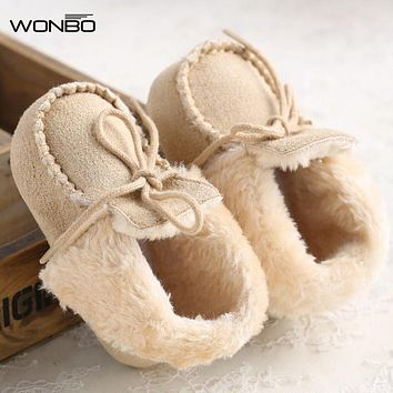Infant Toddler Princess Girl Baby Kids Fur Winter Keep Warm Soft Soled Solid Khaki Crib Babe Shoes Newborn Children Boots Booty
