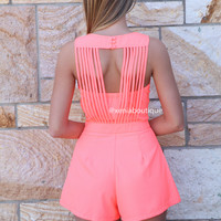 RUNNER PLAYSUIT , DRESSES, TOPS, BOTTOMS, JACKETS & JUMPERS, ACCESSORIES, SALE, PRE ORDER, NEW ARRIVALS, PLAYSUIT, COLOUR,,Coral,CUT OUT Australia, Queensland, Brisbane