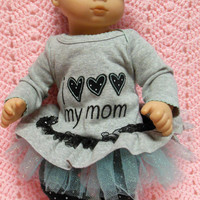"""AMERICAN girl Bitty Baby Clothes """"I LOVE!!! My Mom"""" (15 inch) doll outfit top dress, leggings, booties/ socks, and headband / hair clip"""