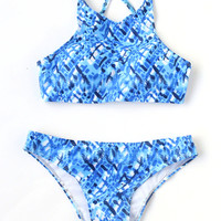 Blue Printed Cross Back Bikini Set -SheIn(Sheinside)