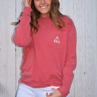 Grand Wave: Long Sleeve Logo ~ Crimson