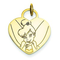 Gold-plated SS Disney Tinker Bell Heart Charm WD282GP