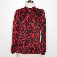 NWT womans red black WORTHING PETITE scroll ruffle work blouse sz PM L37-35