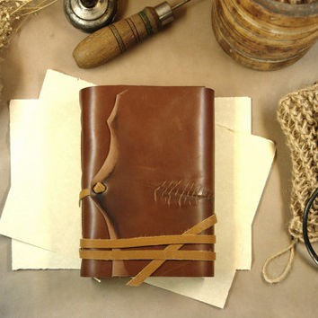 The Scarred One, Leather Journal, Personalized Custom Text Quote Rustic  Monogram Vintage Style Diary, Brown Notebook, Vintage Paper