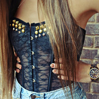 WILDHEARTS Hand STUDDED Black Lace Bustier Corset Top Choose your size