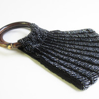 1920's Black Beaded Purse with Carved Handle