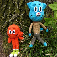 The Amazing World of Gumball, Crochet and Stuffed Cat, Amigurumi Gumball, Toy from Movie