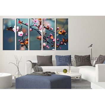 Large Wall Art Canvas Print Almond Tree Prints For Wall 5 Panels Framed Ready to Hang Cherry