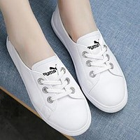 PUMA Popular Women Comfortable Breathable Leather Flat Sport Shoes Sneakers White