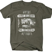 Shirts By Sarah Men's Hipster Shirt Nature Is My Religion And Earth My Church T-Shirt