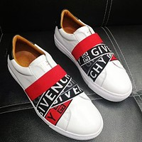 Givenchy Fashion women men stripe letters shoes from contrast shoes White+black red stripe