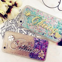 For iphone 6 6s 7 8 X XS MAX XR plus for Samsung Galaxy s6 s7 edge s8 s9 plus note 5 8 9 Customize Name liquid glitter soft case