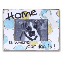 """Furnistar Decorative Wood Table Desk Top Picture Photo Frame """"Home Is Where Your Dog Is"""""""