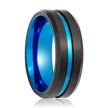 Black Ring with Blue Groove Center and Blue Anodized Interior Sleeve