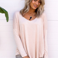 Elizabeth Basic Long Sleeve V-Neck Top- Oatmeal