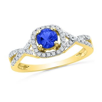 10k Yellow Gold Round Created Blue Sapphire Solitaire Diamond Ring 1/5 Cttw
