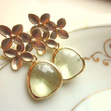 Citrine Earrings Yellow Gold Cherry Blossom - Sterling Silver Posts - Bridesmaid Earrings - Bridal Earrings - Wedding Jewelry
